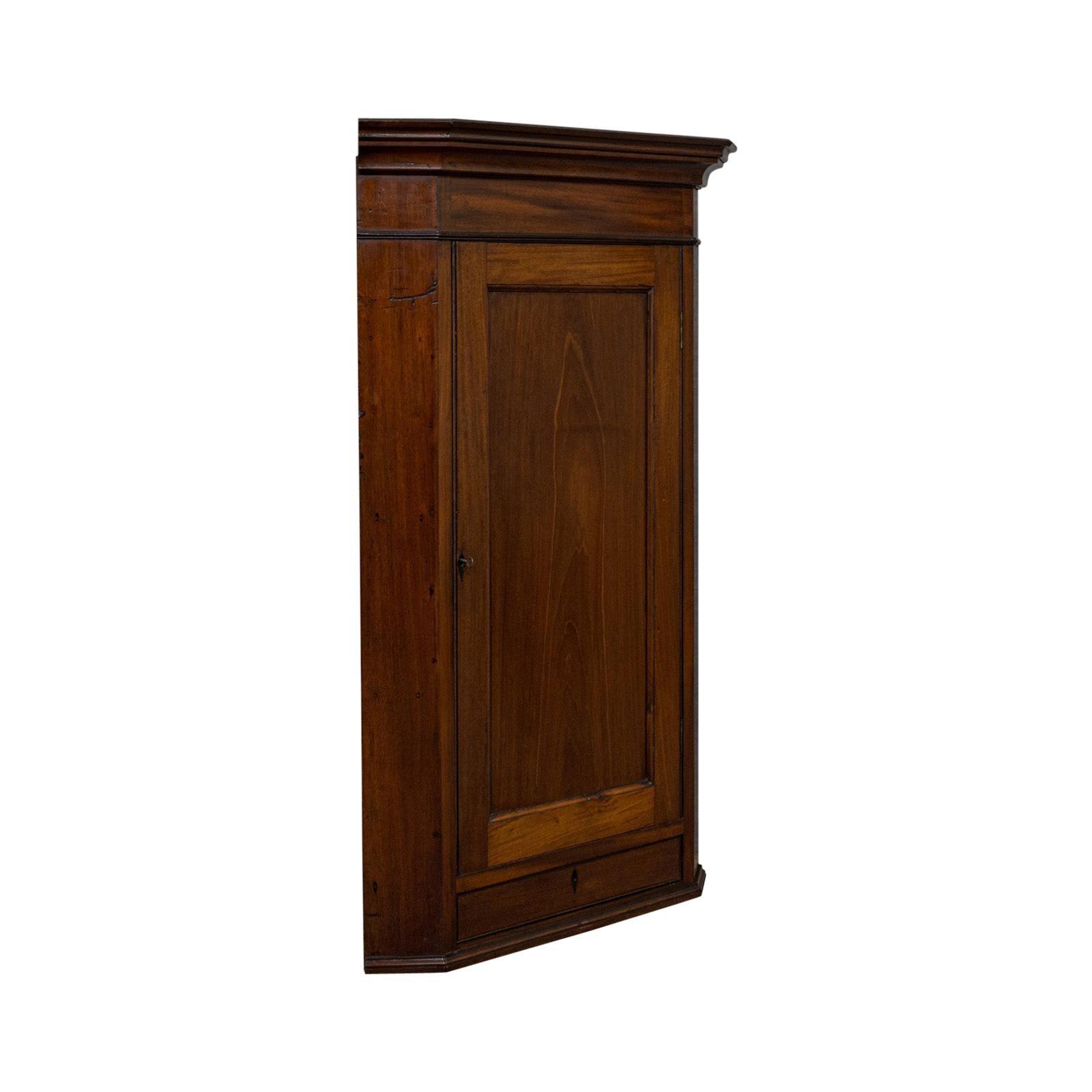 Antique Corner Cabinet, English, Walnut, Mahogany, Wall, Cupboard, Georgian