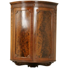 Antique Corner Cabinet, Entryway Decor, Carved Cabinet, Scotland 1880, B1457