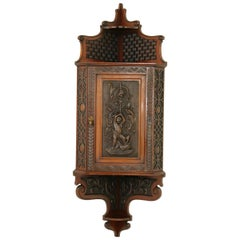 Antique Corner Cabinet, Entryway Furniture, Carved Cabinet, Scotland, 1880