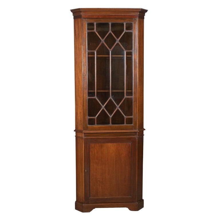 Antique Corner Cabinet, Glazed, Display, Edwardian in Georgian Taste, circa 1910