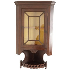 Antique Corner Cabinet, Mahogany Display Cabinet, Hanging Glass Front, 1880s
