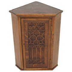 Antique Corner Cabinet, Victorian Gothic Carved Tiger Oak, Scotland 1890, B2014