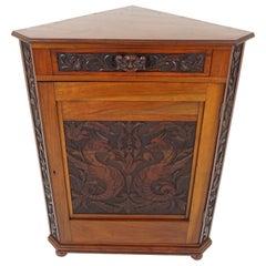 Antique Corner Cabinet, Victorian Walnut Display Cabinet, Scotland 1880, B1935