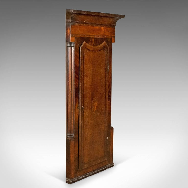 This is an antique corner cabinet, an English, Georgian, mahogany and oak, - Antique Corner Cabinet, Georgian, Mahogany, Narrow, Hanging Cupboard