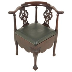Antique Corner Chair, Victorian Carved Walnut Chair, Scotland 1880, B2027