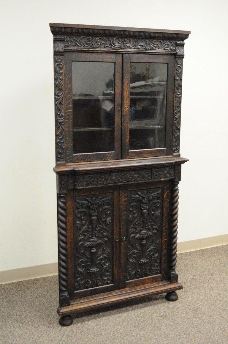 Wondrous Antique Corner China Cabinet Cupboard Renaissance Revival Belgian Carved Oak Home Interior And Landscaping Ologienasavecom
