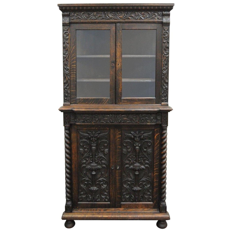 Admirable Antique Corner China Cabinet Cupboard Renaissance Revival Belgian Carved Oak Home Interior And Landscaping Ologienasavecom