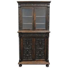 Antique Corner China Cabinet Cupboard Renaissance Revival Belgian Carved Oak
