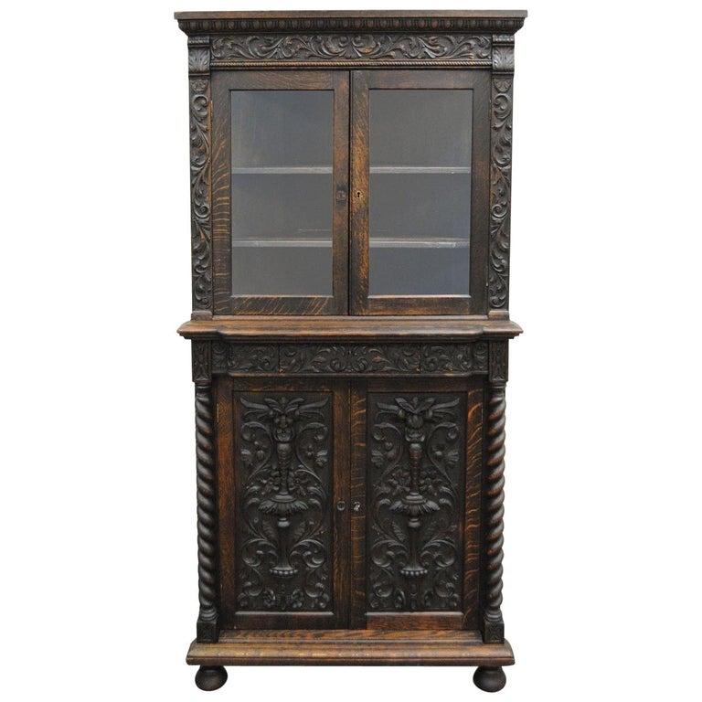 Superb Antique Corner China Cabinet Cupboard Renaissance Revival Belgian Carved Oak Home Interior And Landscaping Ologienasavecom