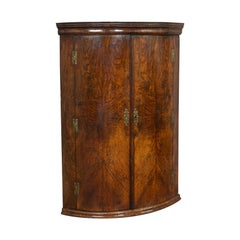 Antique Corner Cupboard, English, Oak, Bow Front, Hanging Cabinet, Georgian
