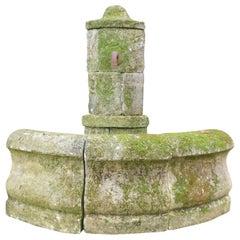 Antique Corner Fountain in Borgogna Stone, Outdoor or Garden Decor, 1900 Italy
