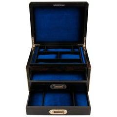 Antique Coromandel Brass Bound Velvet Lined Jewelry Box