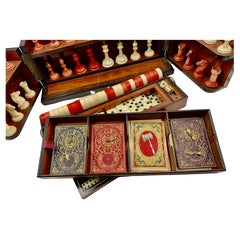 Antique Coromandel Game Box, Hand Carved Chess, Backgammon, Checkers, Horse Race