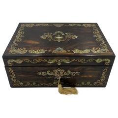 Antique Coromandel Mahogany Brass Inlaid English Writing Box Slope Mother Pearl