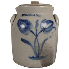 Antique Cortland, New York Blue Decorated & Covered Stoneware Jar