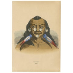 Antique Costume Print of a Brazilian Warrior by Wahlen, 1843