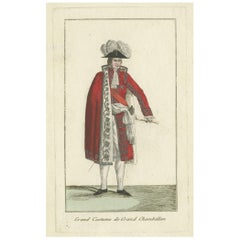 Antique Costume Print of a French Chamberlain, circa 1810