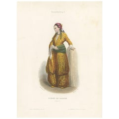 Antique Costume Print of a Harem Woman from Egypt by Aubert '1850'
