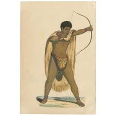 Antique Costume Print of a Male Khoikhoi by Wahlen, '1843'