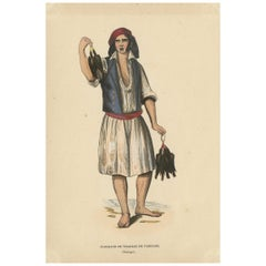 Antique Costume Print of a Poultry Merchant from Portugal by Wahlen, 1843
