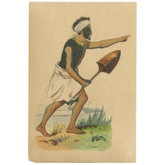 Antique Costume Print of a Warrior of Tongatapu by Wahlen, 1843