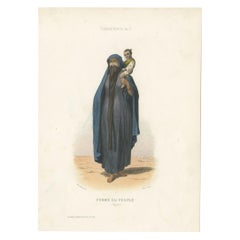 Antique Costume Print of a Woman from Egypt by Aubert '1850'