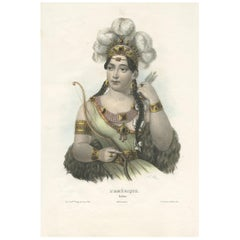 Antique Costume Print of America by Lemercier, 'circa 1840'