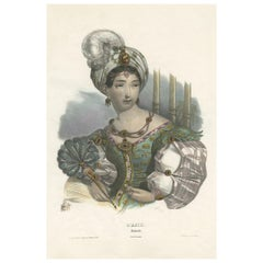 Antique Costume Print of Asia by Lemercier, circa 1840