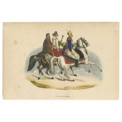 Antique Costume Print of Egyptian Horsemen by Wahlen, 1843