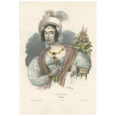 Antique Costume Print of Europe by Lemercier, circa 1840