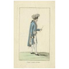 Antique Costume Print of France, circa 1810