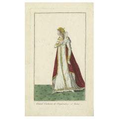 Antique Costume Print of the Empress and Queen of France 'circa 1810'