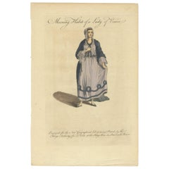 Antique Costume Print of the Morning Habit of a Lady of Venice by Coote 'c.1760'