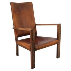 Antique Cotswold School Style Leather Lounge Chair. English. C.1920