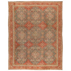 Antique Cotton Indian Agra Red and Blue Handwoven Wool Rug