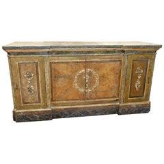 Antique Counter Lacquered Sideboard Faux Marble-Top Internal Drawers, Italy 1500