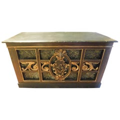 Antique Counter Top Table in Lacquered Gilded Wood, Faux Green Marble, 1800