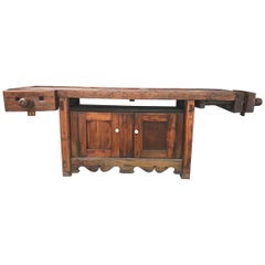 Antique Country Farmhouse Industrial Workbench / Table, Kitchen Island