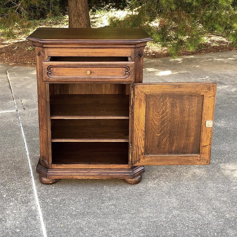 Antique country French Confiturier, cabinet is an ideal piece to use for a powder bath vanity, and also makes a great cabinet and surface for guest rooms and special places like niches and spots between windows and the like. Handcrafted from solid