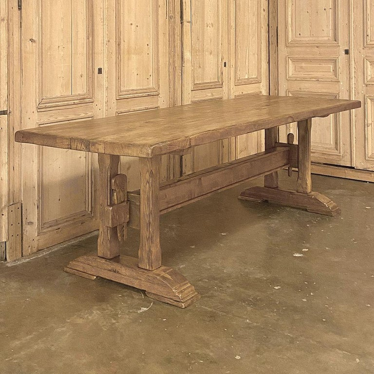 Rustic Antique Country French Farm Table, Trestle Table For Sale