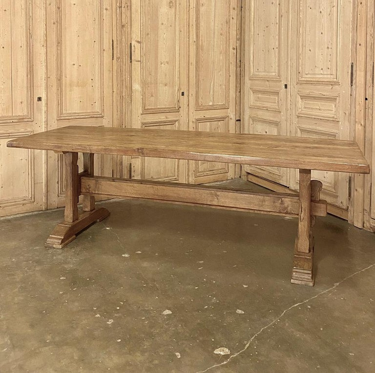 Antique Country French Farm Table, Trestle Table In Good Condition For Sale In Dallas, TX