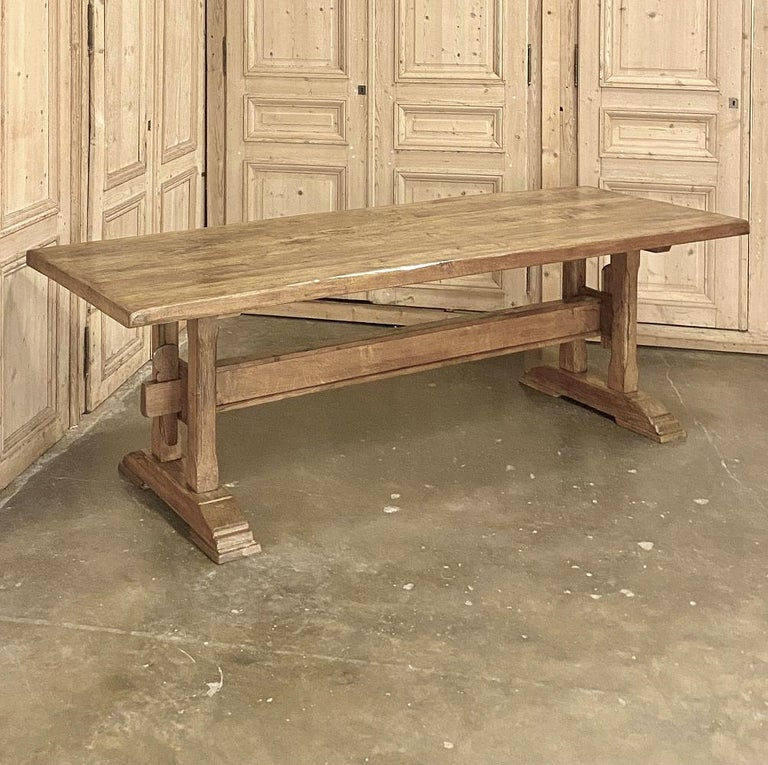20th Century Antique Country French Farm Table, Trestle Table For Sale