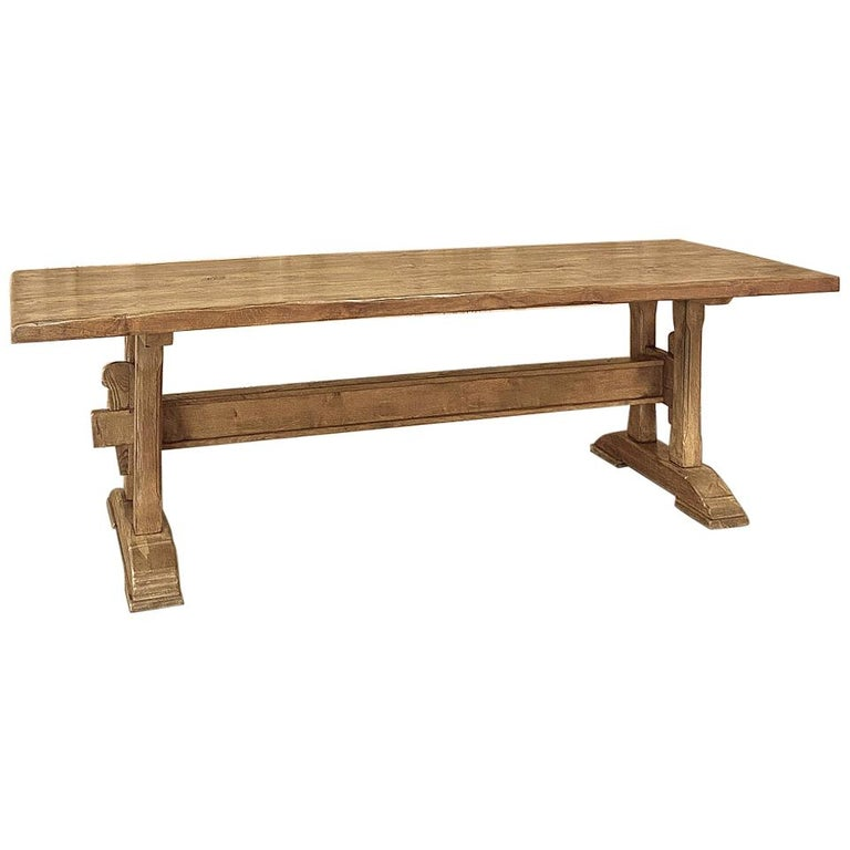 Antique Country French Farm Table, Trestle Table For Sale