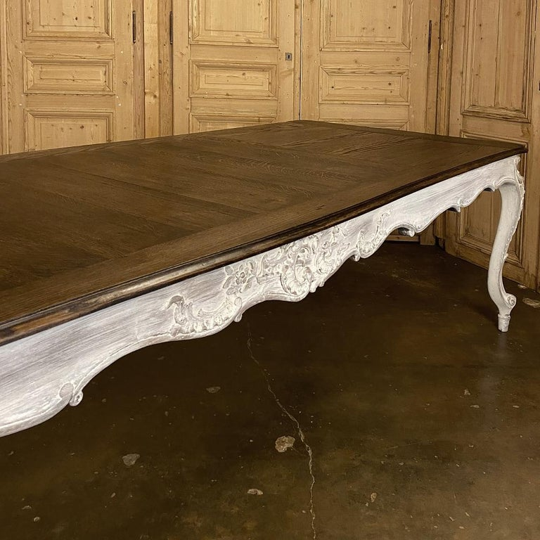 Antique Country French Louis XV Carved and Painted Banquet Table For Sale 6