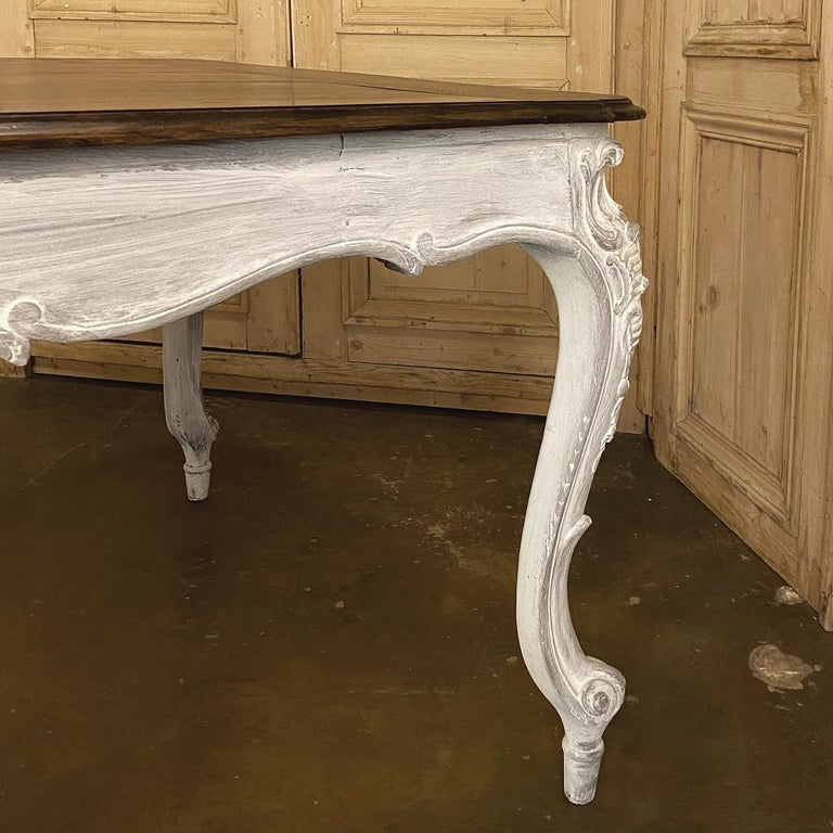 Antique Country French Louis XV Carved and Painted Banquet Table For Sale 7