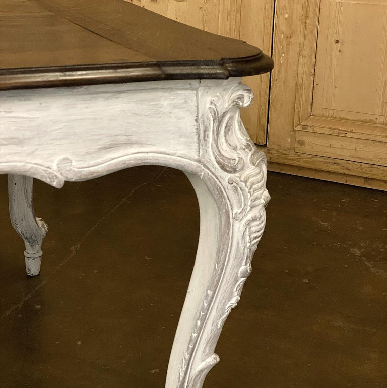 Antique Country French Louis XV Carved and Painted Banquet Table For Sale 8