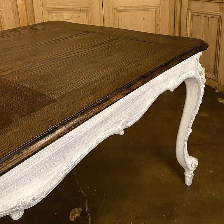 Antique Country French Louis XV Carved and Painted Banquet Table For Sale 10