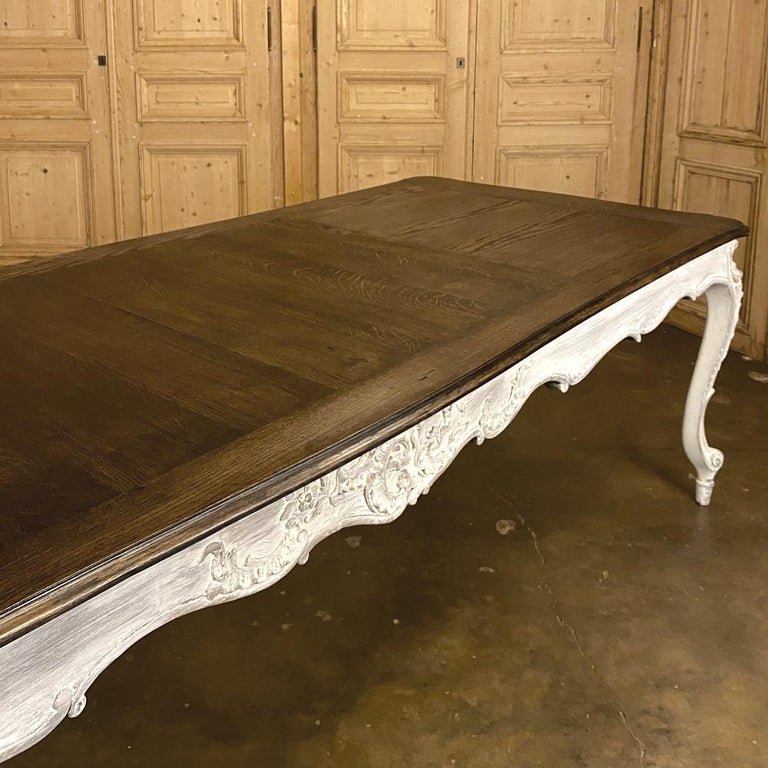 Antique Country French Louis XV Carved and Painted Banquet Table For Sale 11