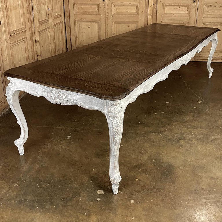 Antique Country French Louis XV Carved and Painted Banquet Table In Good Condition For Sale In Dallas, TX