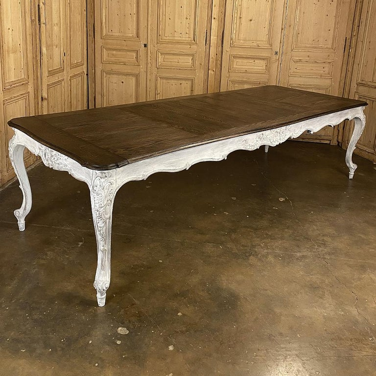 20th Century Antique Country French Louis XV Carved and Painted Banquet Table For Sale